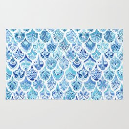 PAISLEY MERMAID Watercolor Scale Pattern Rug
