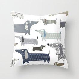 Wiener Dog Pattern Throw Pillow