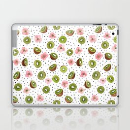 Kiwis with blush pink flowers and black dots watercolor Laptop & iPad Skin