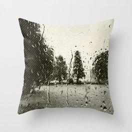 Cypress in the Rain Throw Pillow