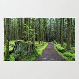 All covered with green moss magic forest Rug