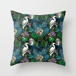Egret In A Bog Garden Under A Full Moon Throw Pillow