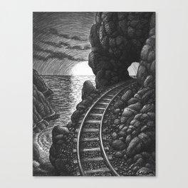 Coast train at sunrise Canvas Print