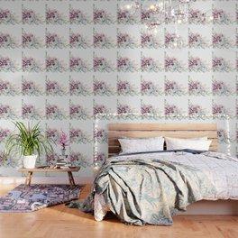 Desert Succulents on White Wallpaper