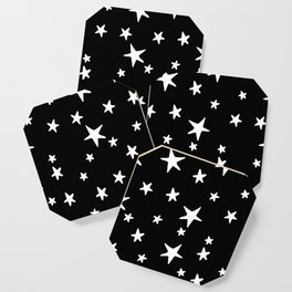 Stars - White on Black Coaster