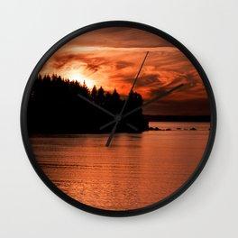 Red Sky At Night Photography Print Wall Clock