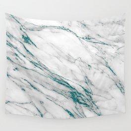 Gray Marble Aqua Teal Metallic Glitter Foil Style Wall Tapestry