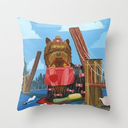 New Yorkie Throw Pillow