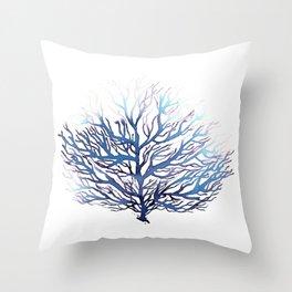 Blue Coral, Ocean Art, Surf Decor Throw Pillow
