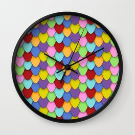 Dragon Scales in Rainbow Wall Clock