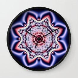 Fantasy pattern flower in purple,pink, blue & salmon Wall Clock