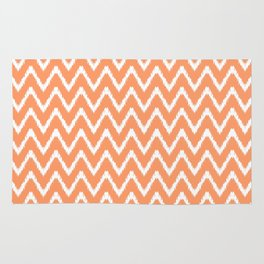 Peach Southern Cottage Ikat Chevrons Rug