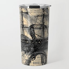 Octopus Kraken attacking Ship Antique Almanac Paper Travel Mug