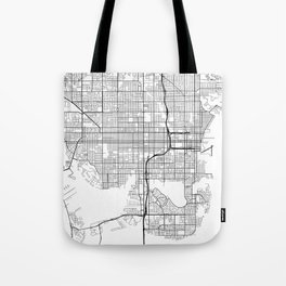 St Petersburg Map, USA - Black and White Tote Bag