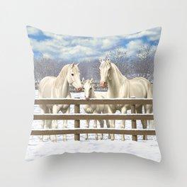 White Horses in Snow Throw Pillow