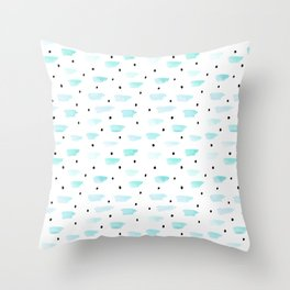 Mint and Black Dots by Minikuosi Throw Pillow