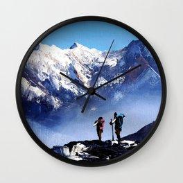 Panoramic View Of Ama Dablam Peak Everest Mountain Wall Clock
