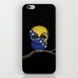 Baby Owl with Glasses and Bosnian Flag iPhone Skin