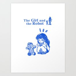 The Girl and the Robot - Toy Robot Art Print