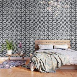 Maui Palm Black and White Wallpaper