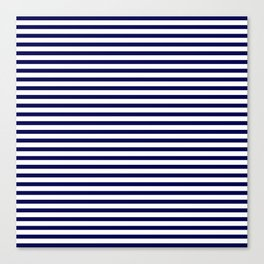 Navy Blue & White Maritime Small Stripes - Mix & Match with Simplicity of Life Canvas Print
