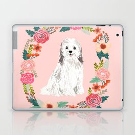 havanese floral wreath spring dog breed pet portrait gifts Laptop & iPad Skin