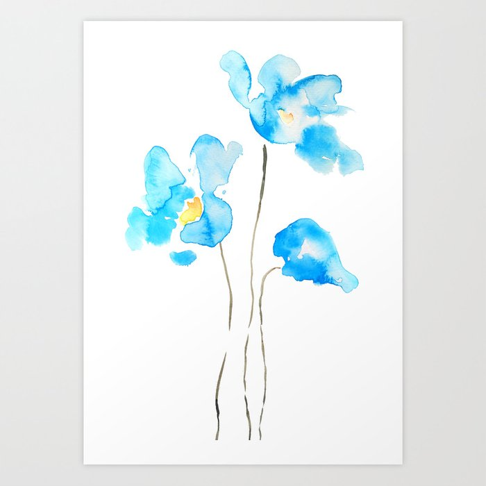 Abstract himalayan poppy flower watercolor art print by abstract himalayan poppy flower watercolor art print mightylinksfo