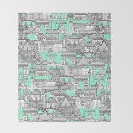 Paris toile aquamarine Throw Blanket