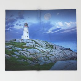 Lighthouse at Peggy's Cove in the Moonlight Throw Blanket
