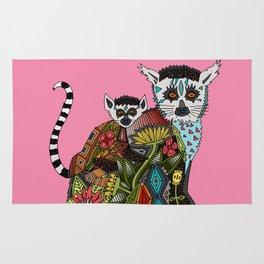 ring tailed lemur love pink Rug