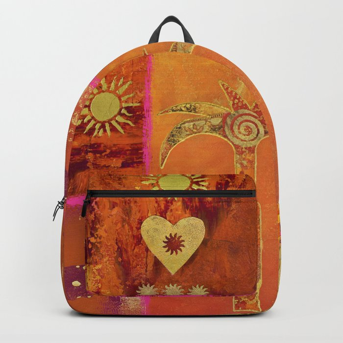 Oriental Sun Original Painting Gold Orange Backpack