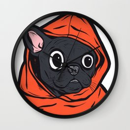 Black French Bulldog Hoodie Wall Clock