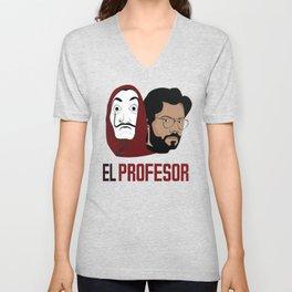 LA CASA DE PAPEL tee shirt El Peofesor Unisex V-Neck