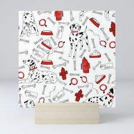 dalmatians with pops of red Mini Art Print