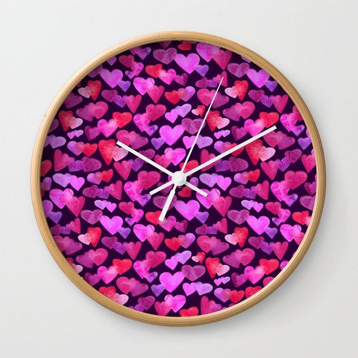 Watercolor hearts romantic design Wall Clock