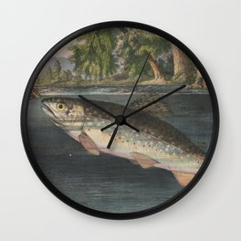Vintage River Fishing Illustration (1874) Wall Clock