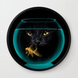 Black Cat Goldfish II Wall Clock