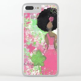 Dripping Pink and Green Angel Clear iPhone Case