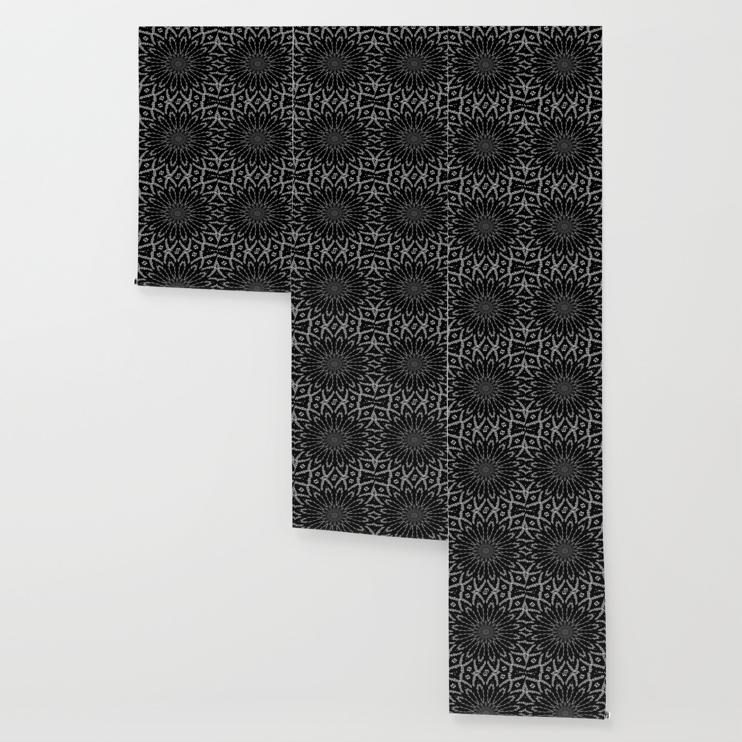 Shooting Star Black And White Typographic Kaleidoscope Wallpaper By Taiche Society6