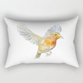 Robin in Flight Watercolor Rectangular Pillow