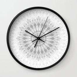Gray White Mandala Wall Clock
