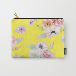 Floral I - Bright Yellow Carry-All Pouch