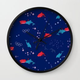Blue Dolphin and Red Shark Olympic Wall Clock