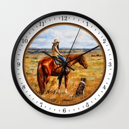 Young Cowgirl on Cattle Horse Wall Clock