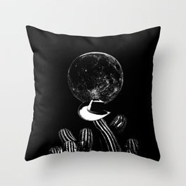 Barking at the moon-Cactus-Cowboy hat-Surreal-Fantasy Throw Pillow