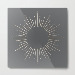 Simply Sunburst in White Gold Sands on Storm Gray Metal Print