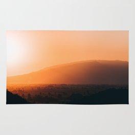 Sepia Orange Sunset Mountain Hills Landscape Photo Rug