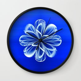 White Bloom on Blue Wall Clock