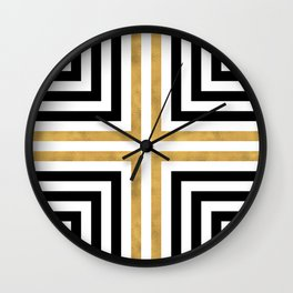 Simple Geometric Cross Pattern - White Gold on Black - Mix & Match with Simplicity of life Wall Clock