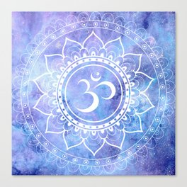Om Mandala Lavender Periwinkle Blue Galaxy Space Canvas Print